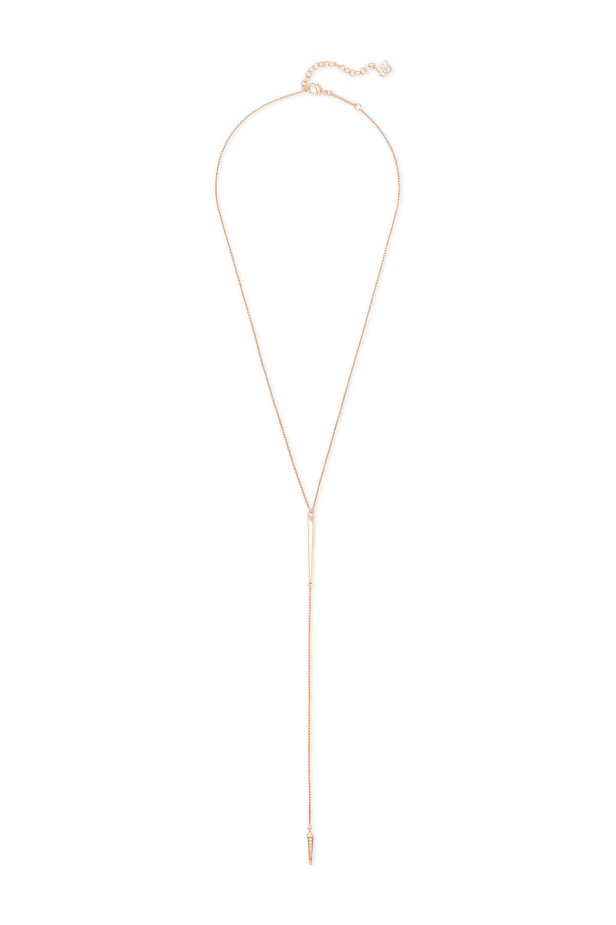 Image of Kendra Scott Vivian 14K Rose Gold Plated CZ Y Drop Necklace
