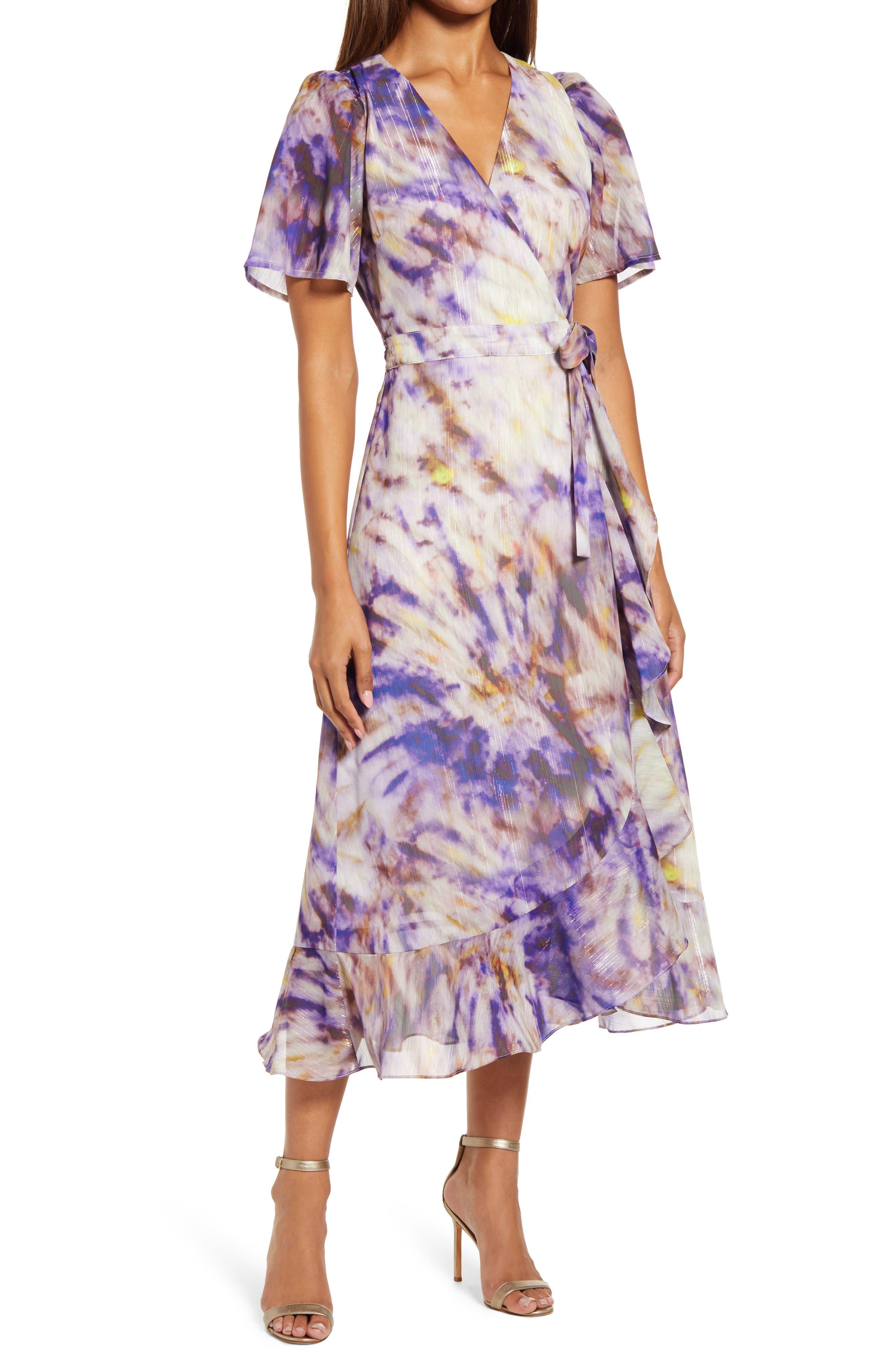 Tie Dye Faux Wrap Midi Dress