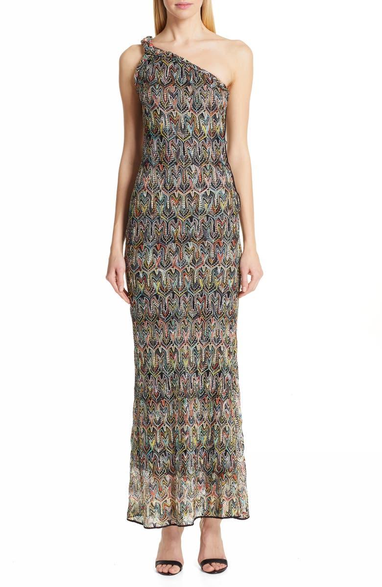 Missoni One Shoulder Pointelle Maxi Dress