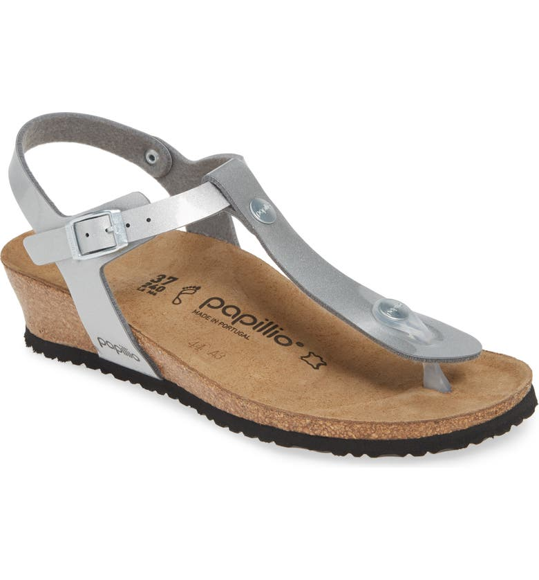 BIRKENSTOCK Papillio By Birkenstock 'Ashley' T-Strap Wedge Sandal, Main, color, METALLIC SILVER LEATHER