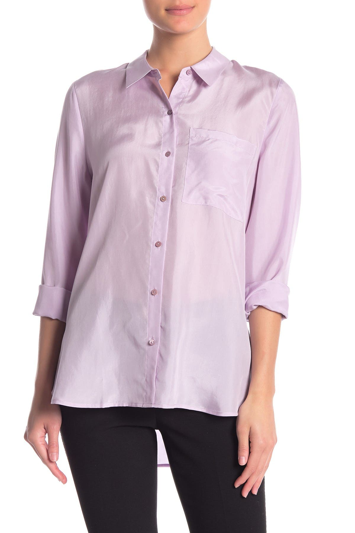 Image of Eileen Fisher Classic Silk Button Front Shirt