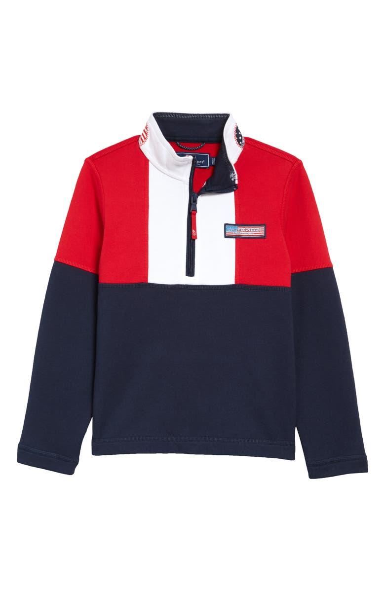 VINEYARD VINES America Shep Quarter Zip Pullover, Main, color, VINEYARD NAVY