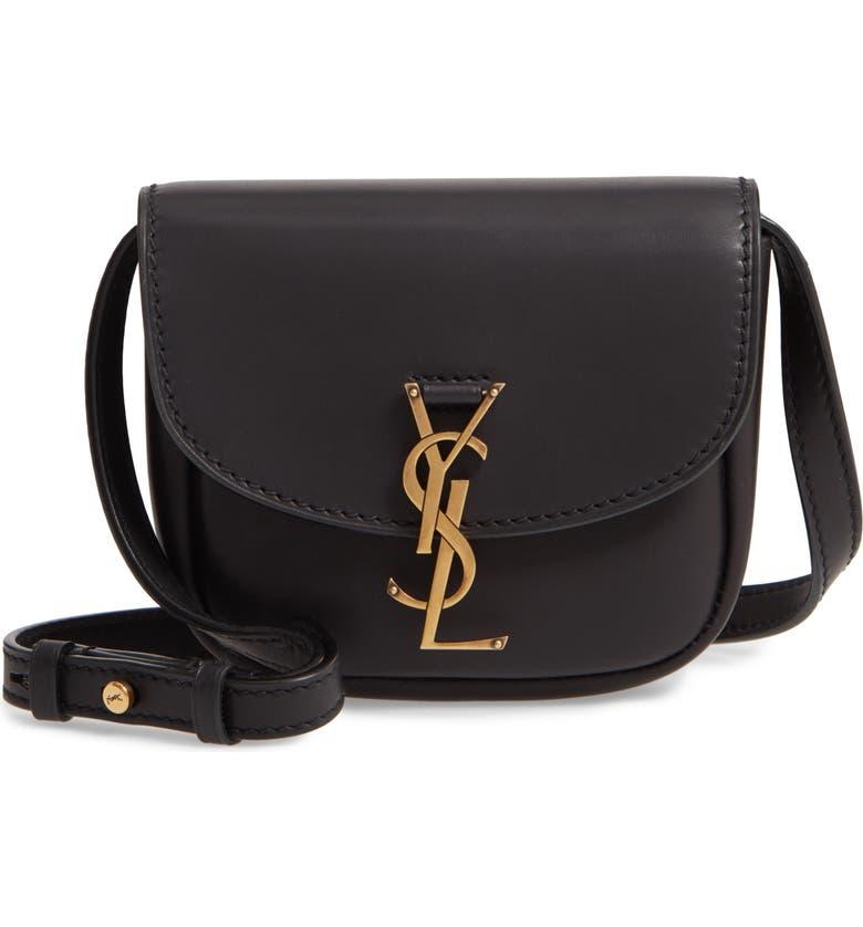 SAINT LAURENT Small Kaia Leather Crossbody Bag, Main, color, 001