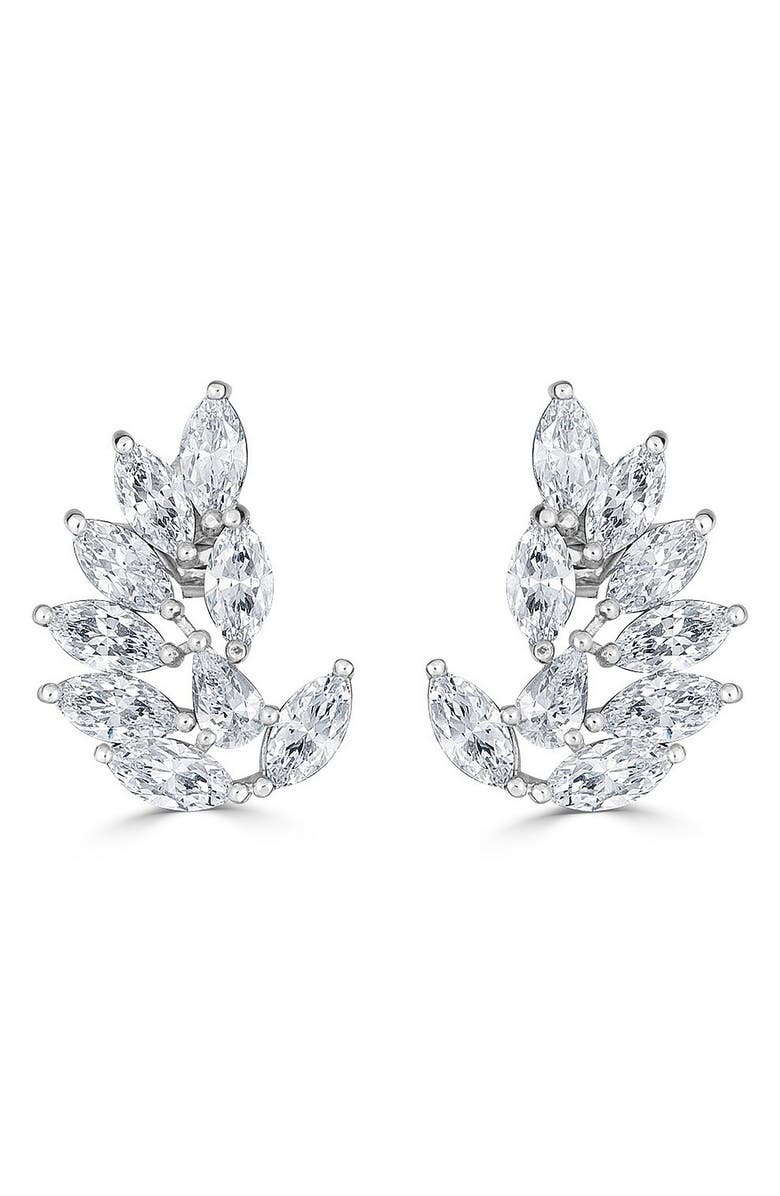 THOMAS LAINE Rita Marquise Cluster Earrings, Main, color, CLEAR/ SILVER