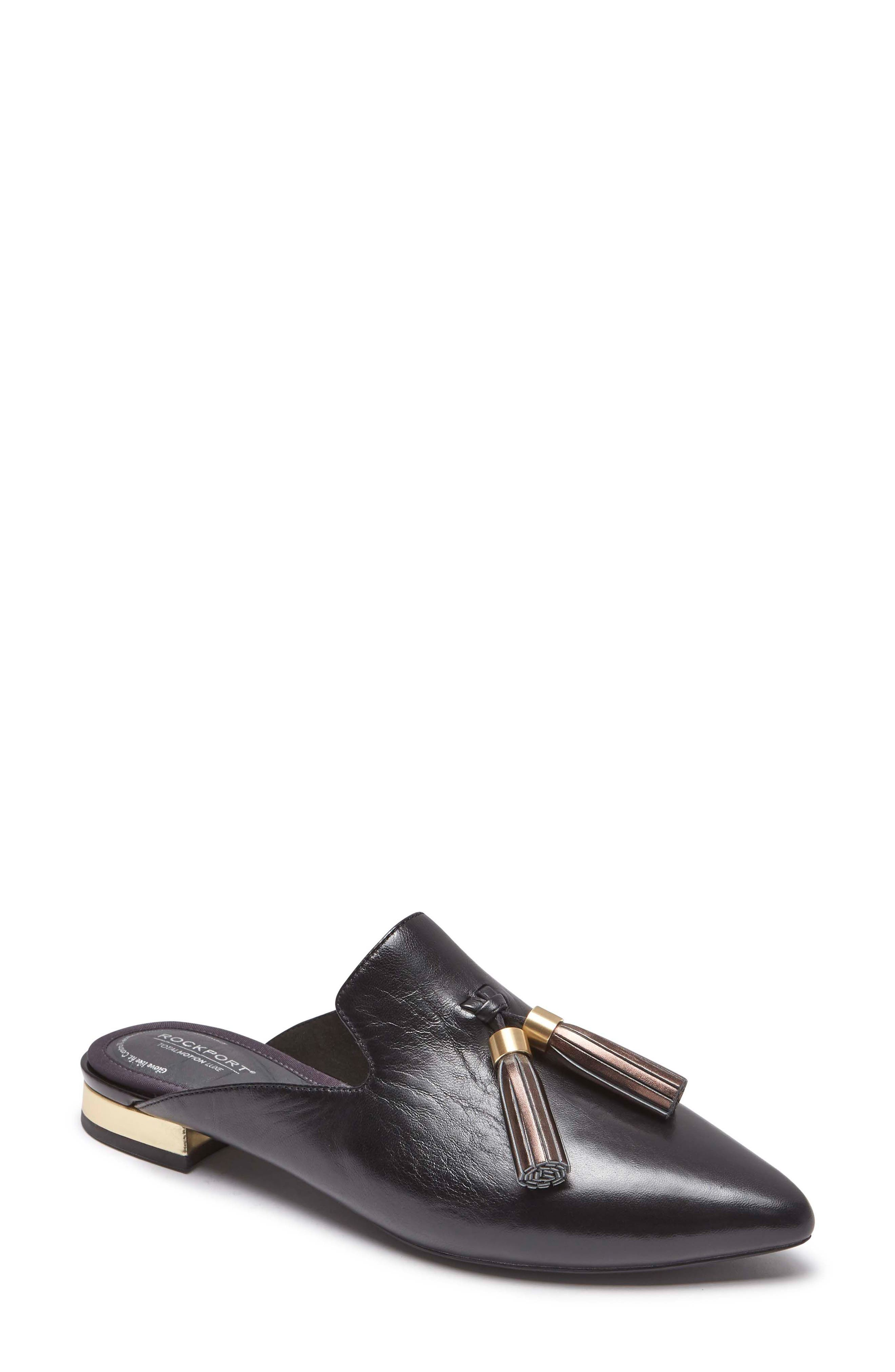 ,                             Total Motion Zuly Tassel Mule,                             Main thumbnail 1, color,                             BLACK LEATHER