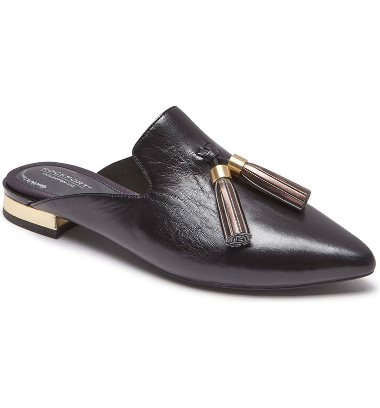 ROCKPORT Total Motion Zuly Tassel Mule, Main, color, BLACK LEATHER