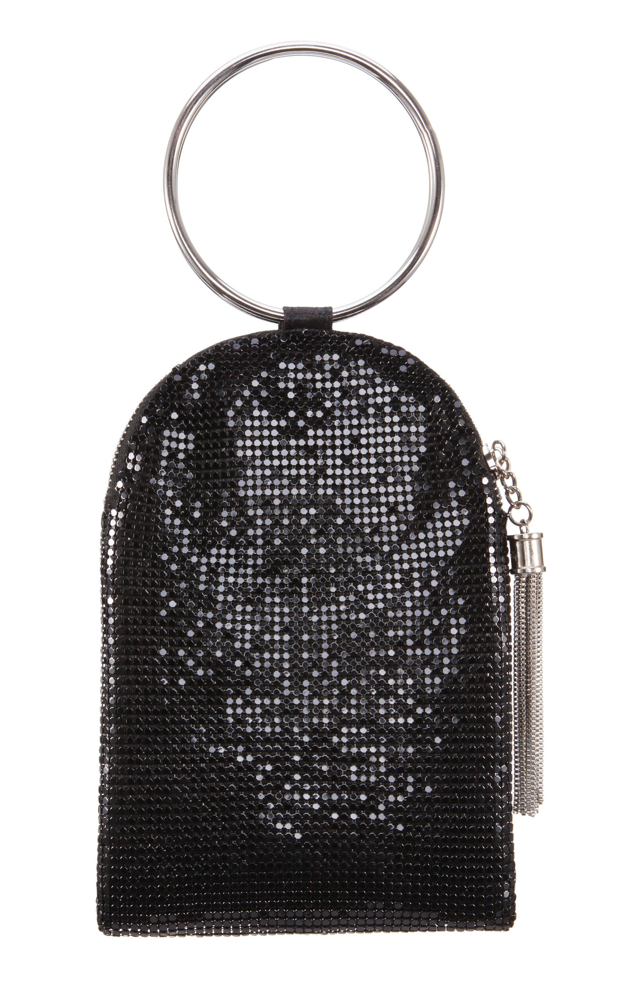 Metallic Mesh Handbag, Main, color, BLACK