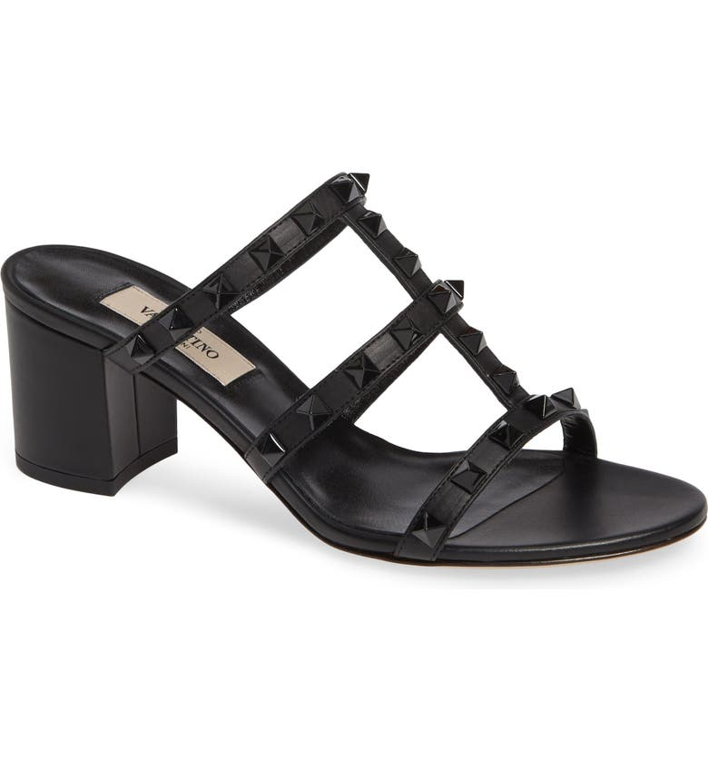 VALENTINO GARAVANI Rockstud Slide Sandal, Main, color, BLACK
