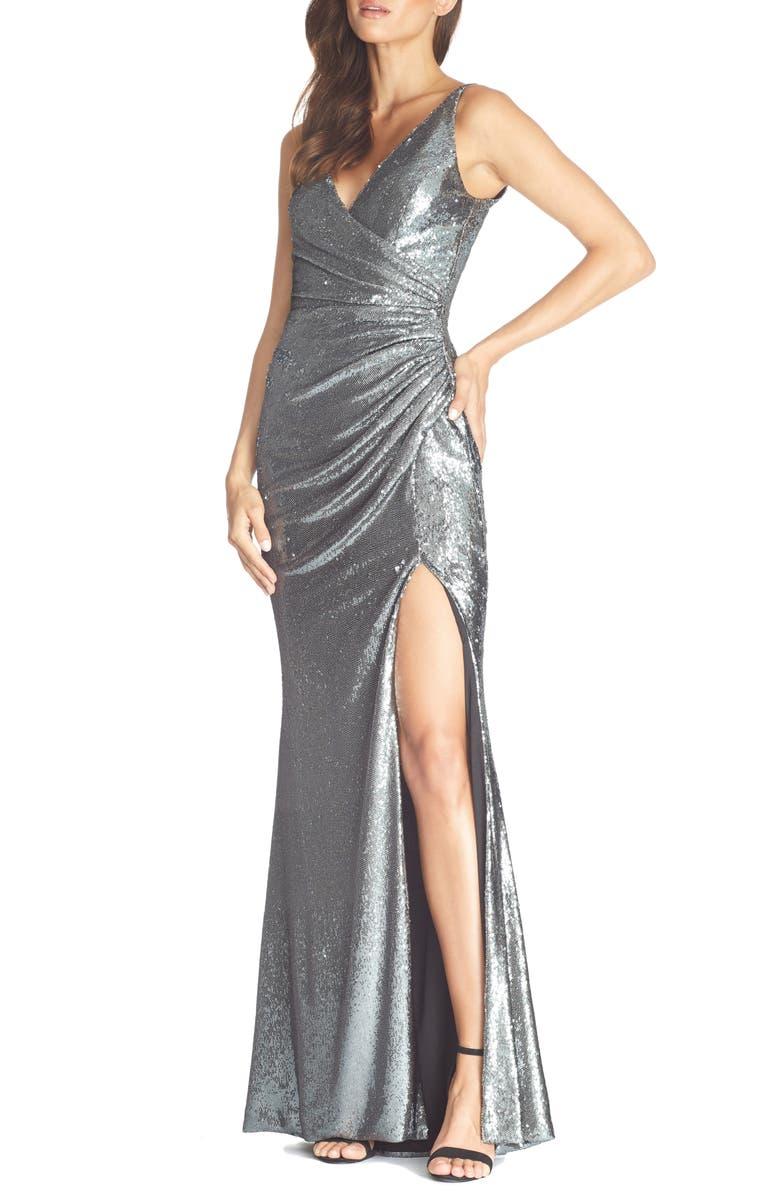 DRESS THE POPULATION Jordan Ruched Mermaid Gown, Main, color, GUNMETAL