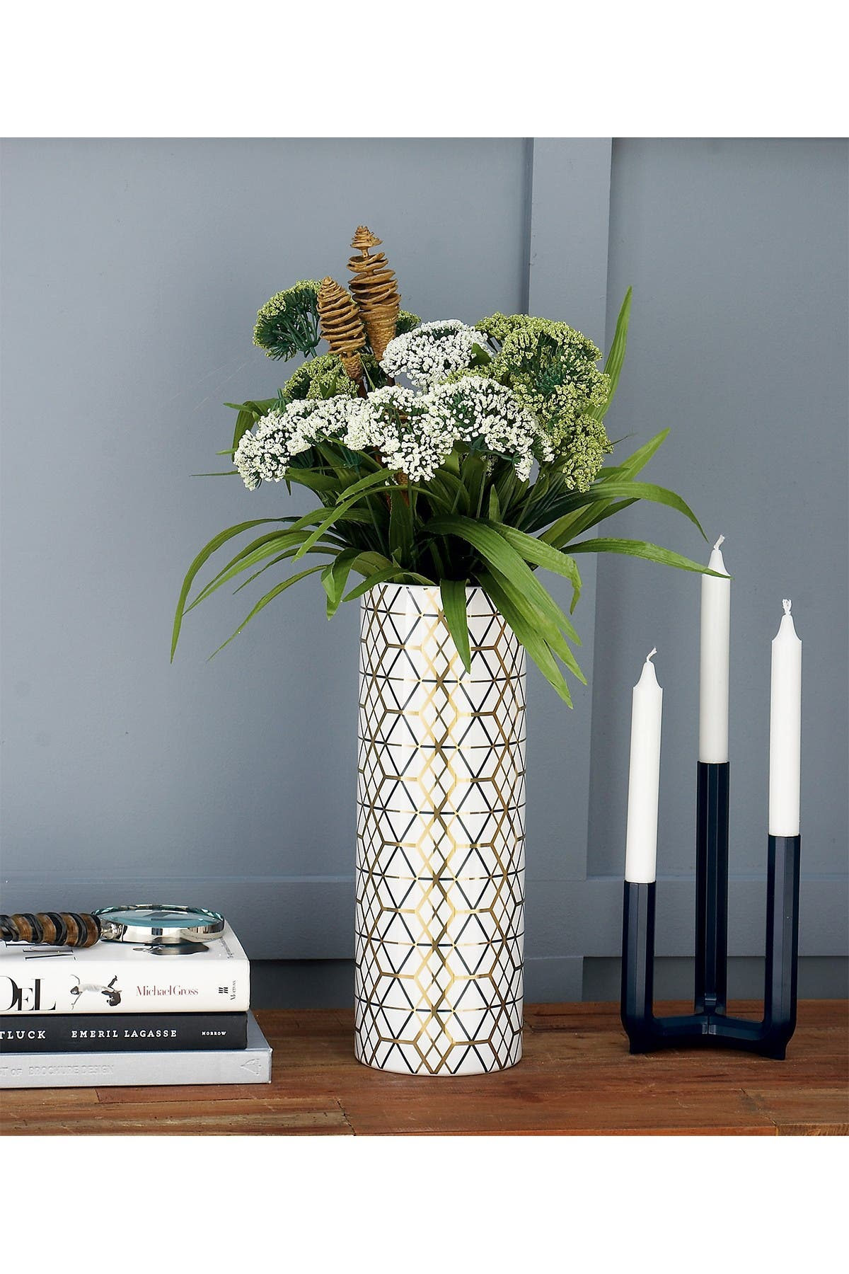 Image of CosmoLiving by Cosmopolitan Tall White Eclectic Patterned Cylinder Vase - Set of 2