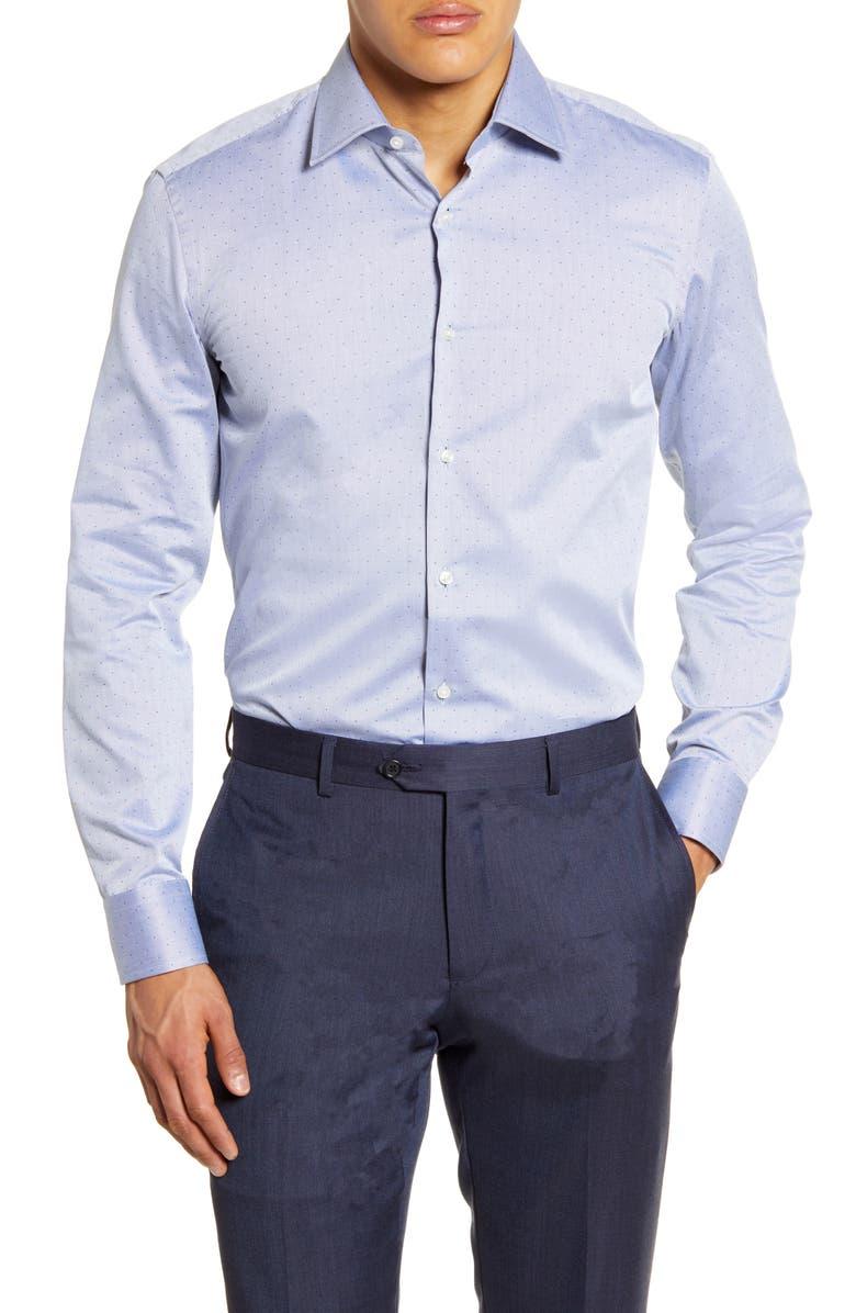 BOSS Slim Fit Dot Dress Shirt, Main, color, NAVY