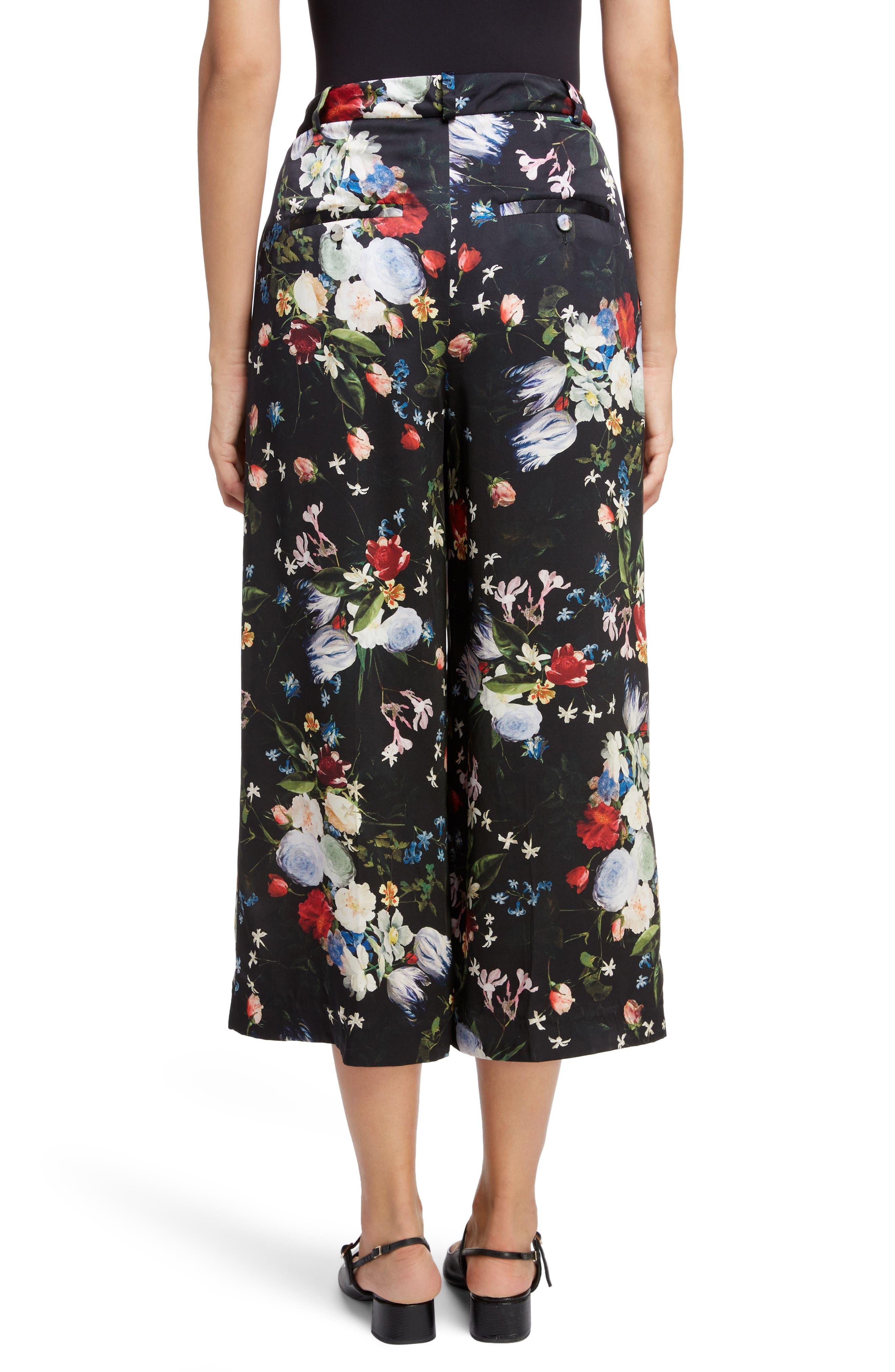 ,                             Floral Silk Satin Pleated Pants,                             Alternate thumbnail 2, color,                             BLACK/ MULTI