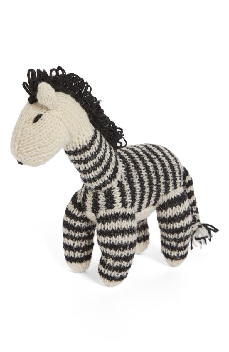 WARE OF THE DOG Crochet Wool Zebra Squeak Dog Toy, Main, color, ZEBRA