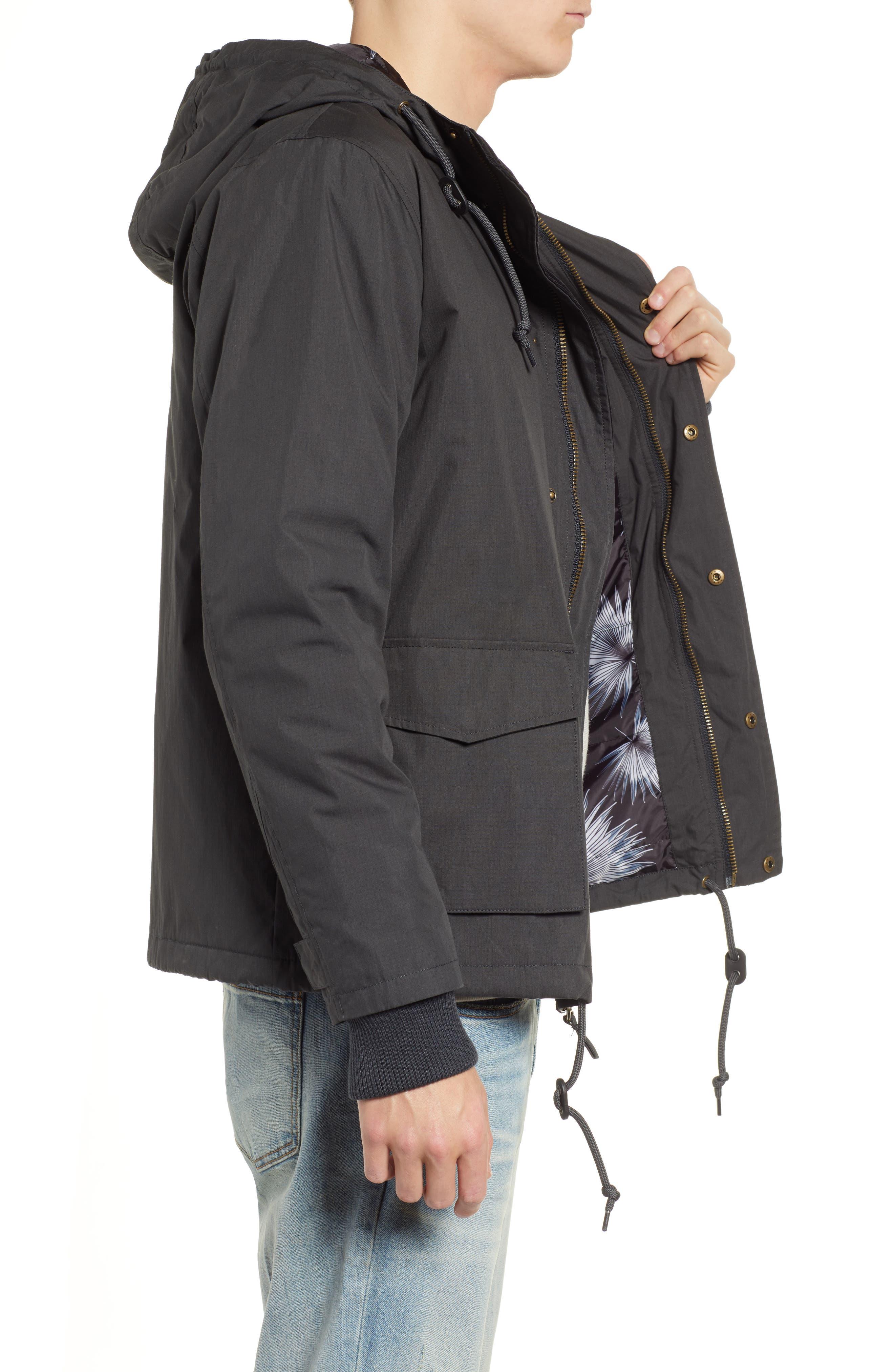 ,                             Ripstop Parka Jacket,                             Alternate thumbnail 3, color,                             PIRATE BLACK