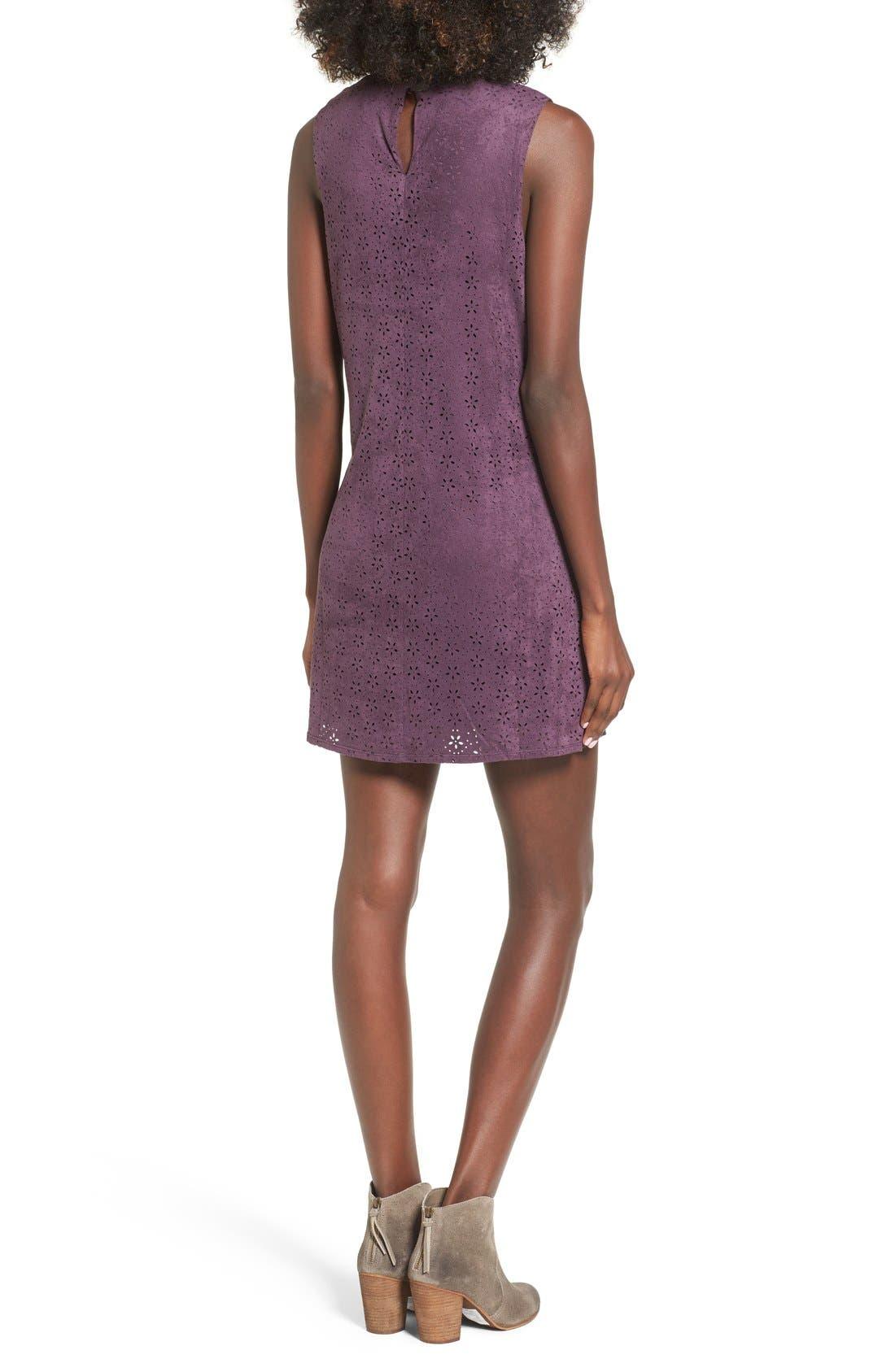,                             High Neck Faux Suede Shift Dress,                             Alternate thumbnail 9, color,                             500
