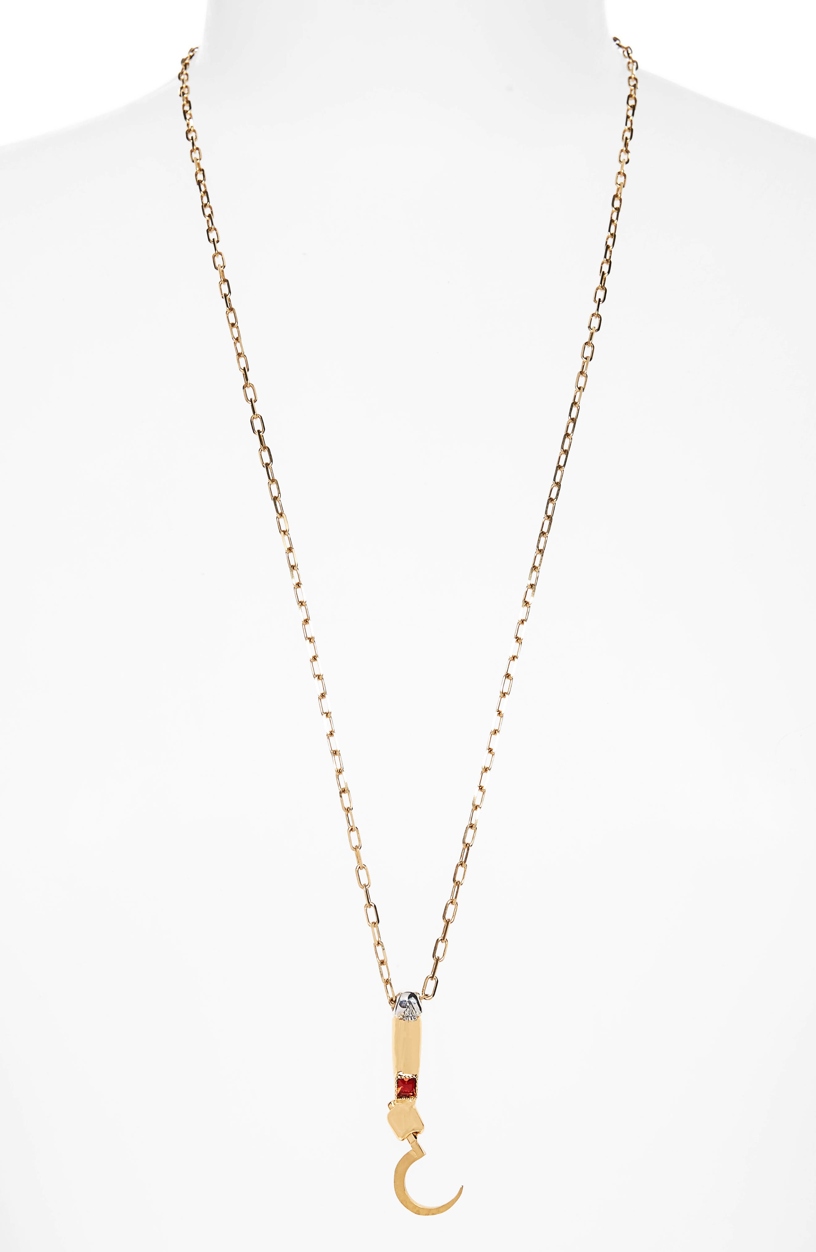 Hook Tail Necklace, Main, color, GOLD