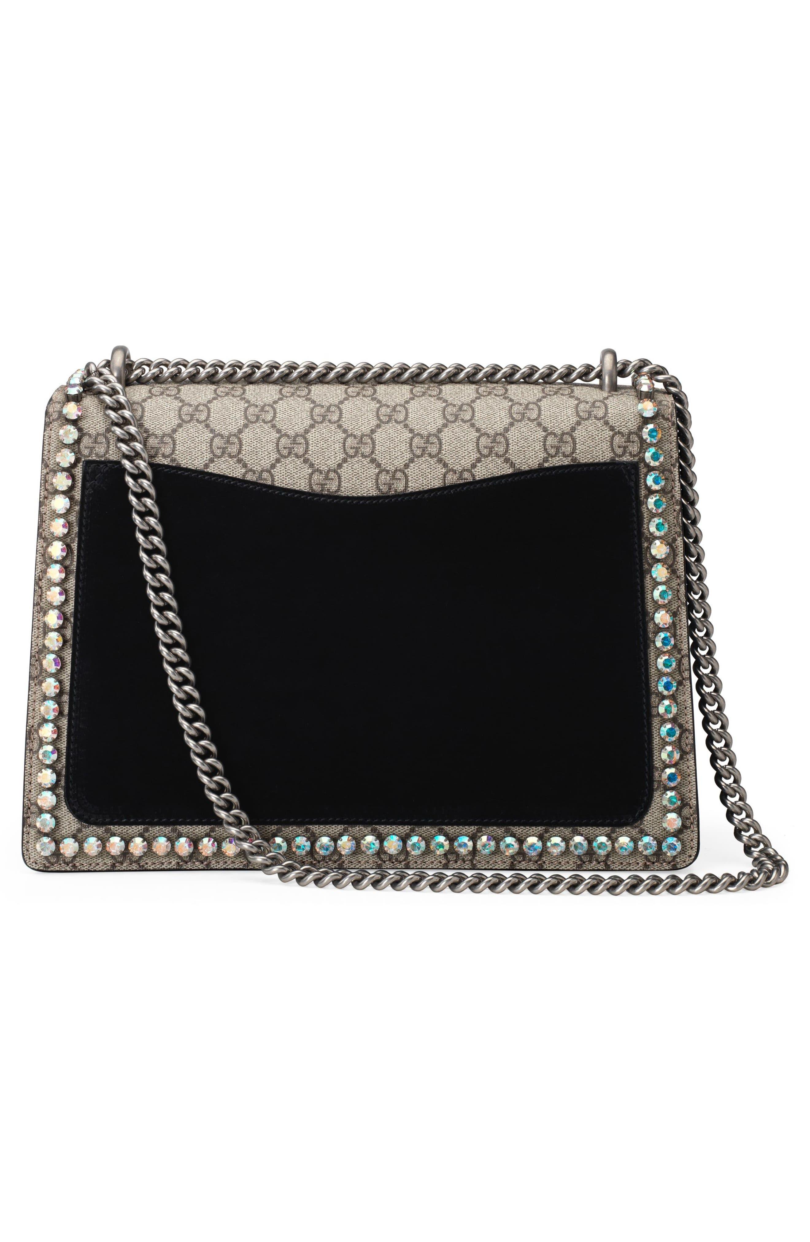 ,                             Medium Dionysus Crystal Embellished GG Supreme Canvas & Suede Shoulder Bag,                             Alternate thumbnail 2, color,                             276