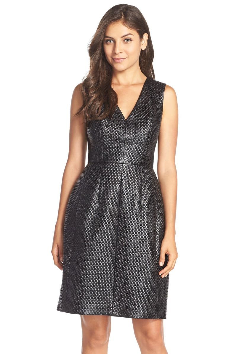 BCBGMAXAZRIA Perforated FauxLeatherFit & Flare Dress, Main, color, 001