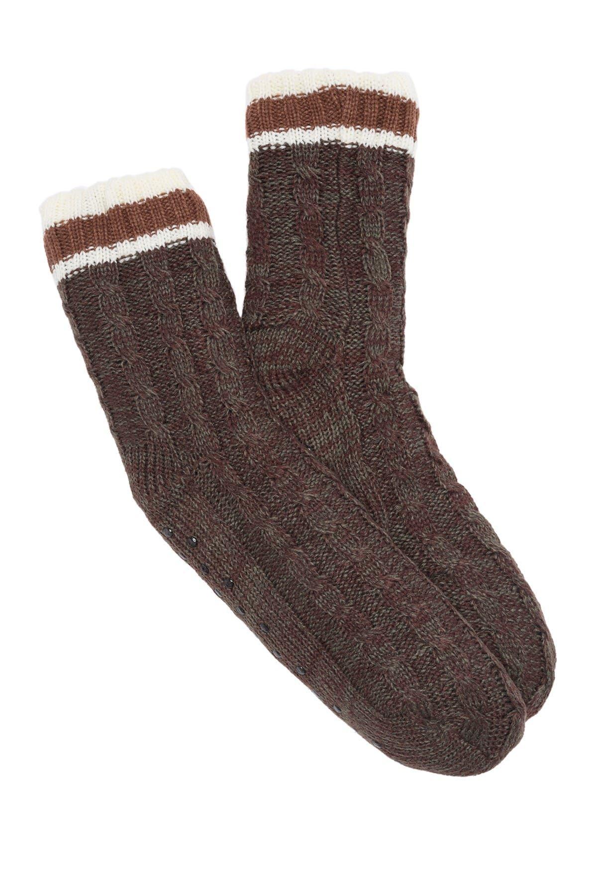 Image of Woolrich John Rich & Bros Cable Knit Fleece Lined Slipper Socks
