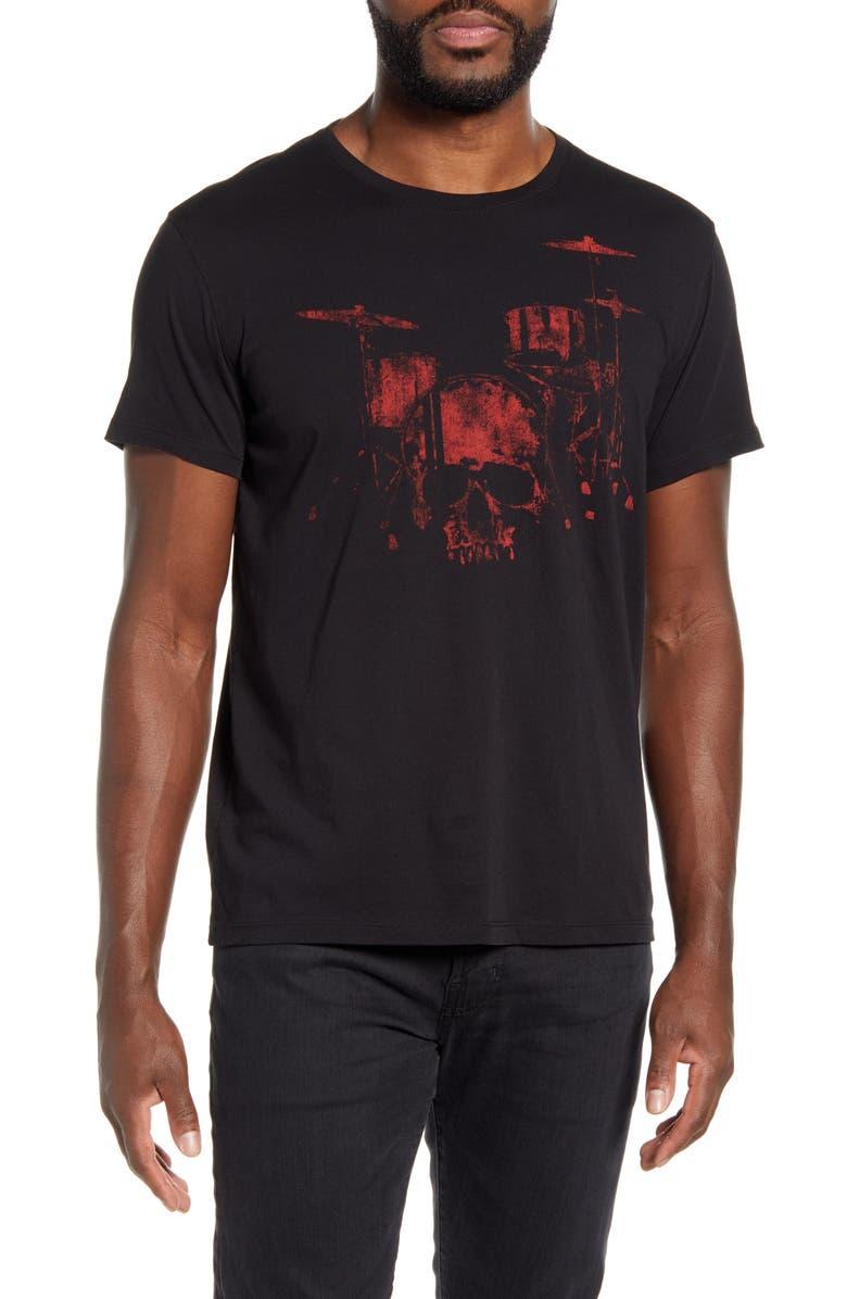 JOHN VARVATOS STAR USA Drum Skull Graphic Tee, Main, color, BLACK