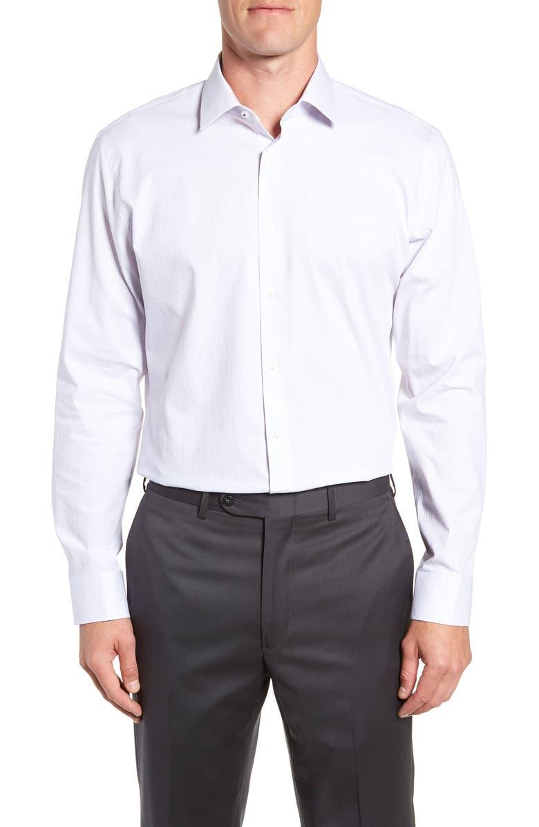 NORDSTROM MEN'S SHOP Tech-Smart Trim Fit Stretch Stripe Dress Shirt, Main, color, 050