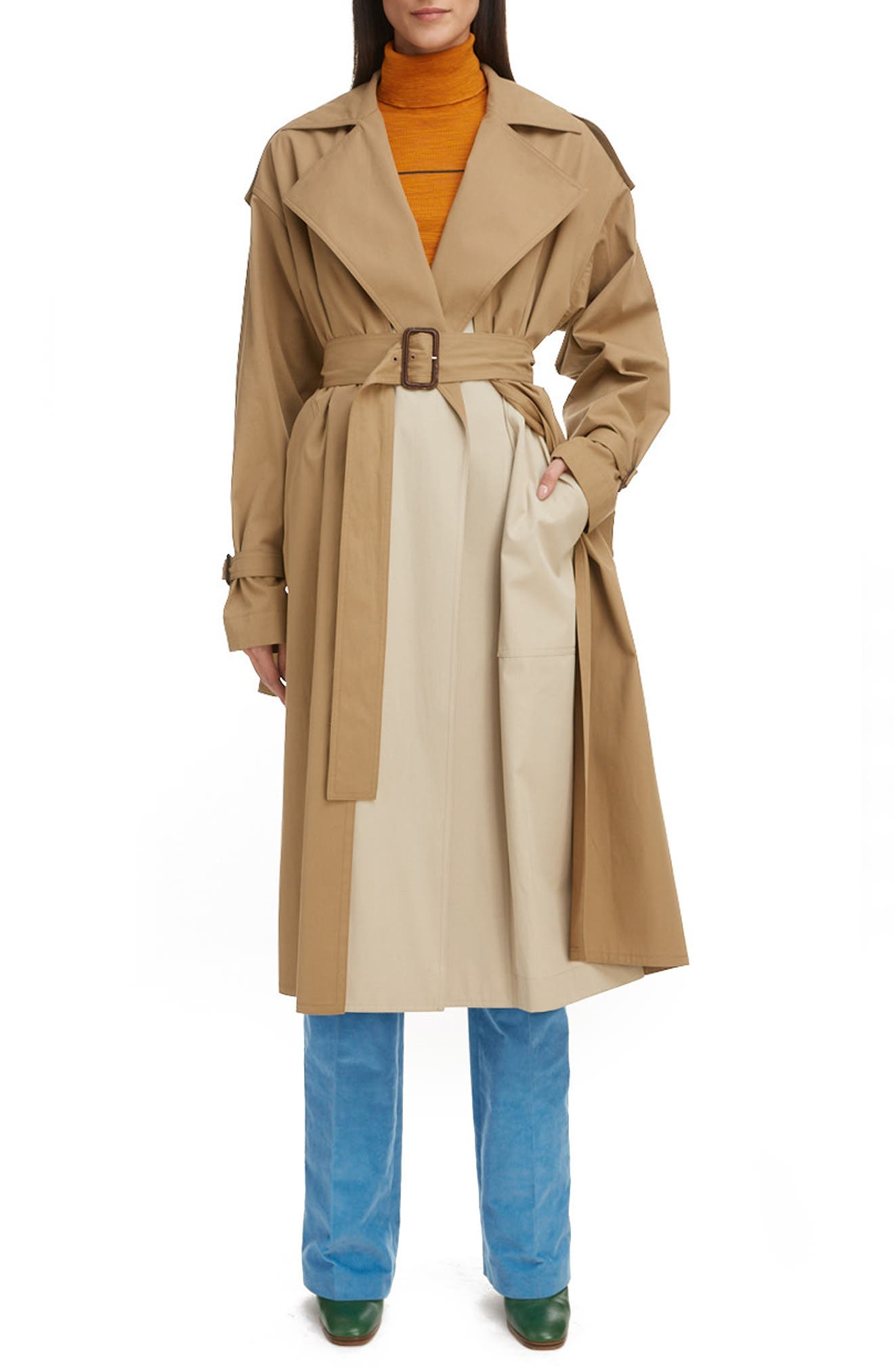 A brighter block of neutral color lends a mod touch to this swingy cotton trench designed with exaggerated details that impart a chic, easy vibe. Style Name: Victoria Beckham Trench Coat. Style Number: 6078074. Available in stores.