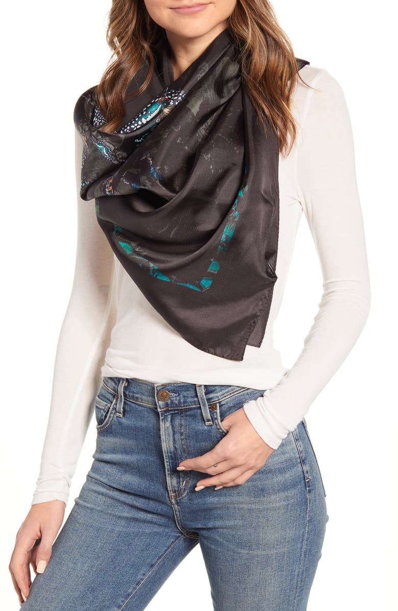 ALLSAINTS All of a Flutter Silk Square Scarf, Main, color, BLACK