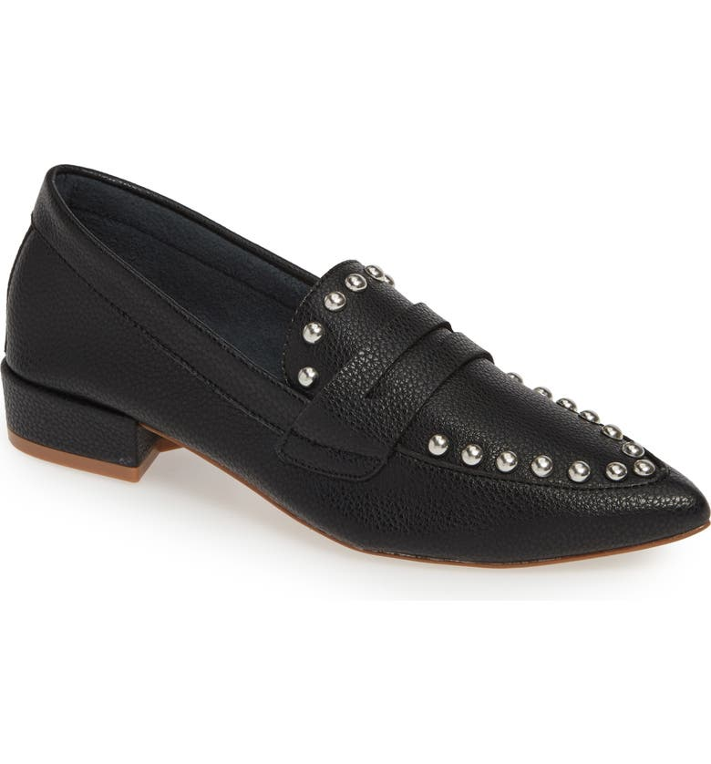 KENSIE Iroi Studded Loafer, Main, color, BLACK LEATHER