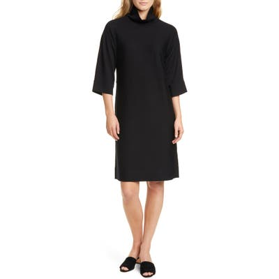 Petite Eileen Fisher Merino Wool Shift Dress, Black