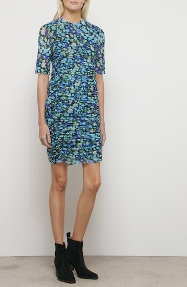 Floral Print Mesh Body-Con Dress, video thumbnail