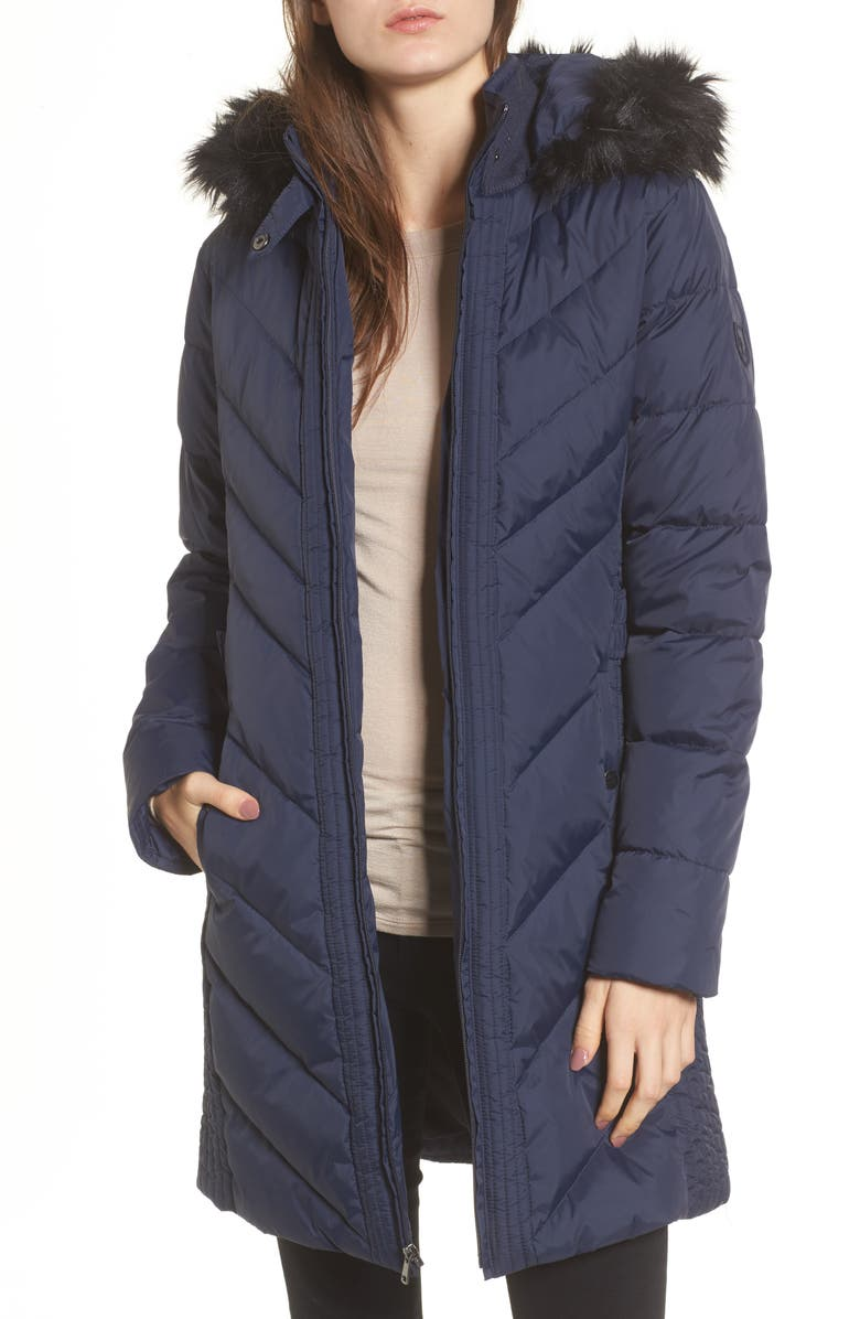 LARRY LEVINE Faux Fur Trim Hooded Jacket, Main, color, 004