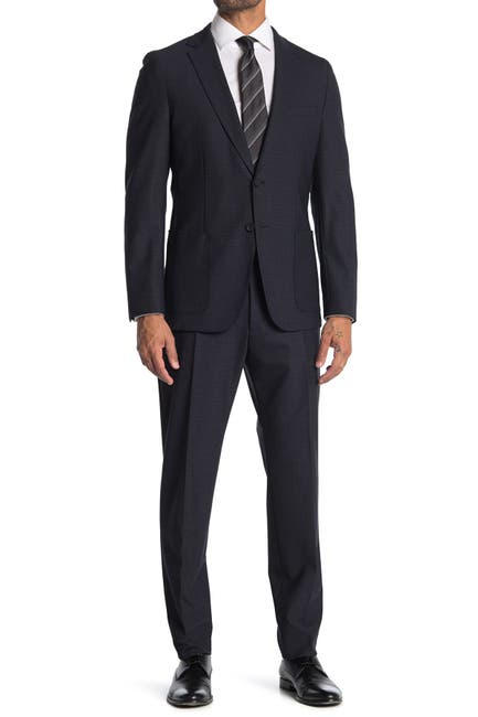 Image of BOSS Blue Plaid Two Button Notch Lapel Suit