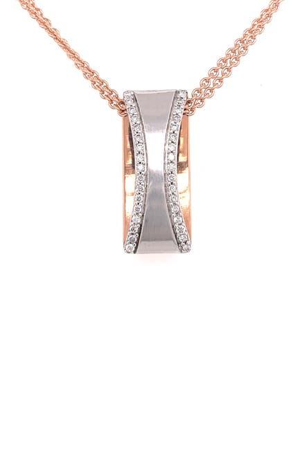 Image of BREUNING 14K White Gold & 14K Rose Gold Pave Diamond Ring Pendant Necklace - 0.26 ctw