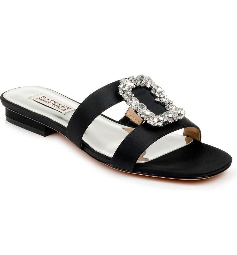 BADGLEY MISCHKA COLLECTION Badgley Mischka Josette Slide Sandal, Main, color, BLACK SATIN