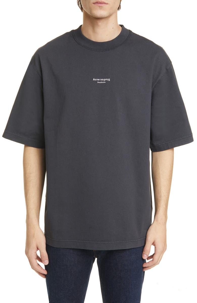 ACNE STUDIOS Extorr Stamp Oversize Logo T-Shirt, Main, color, BLACK