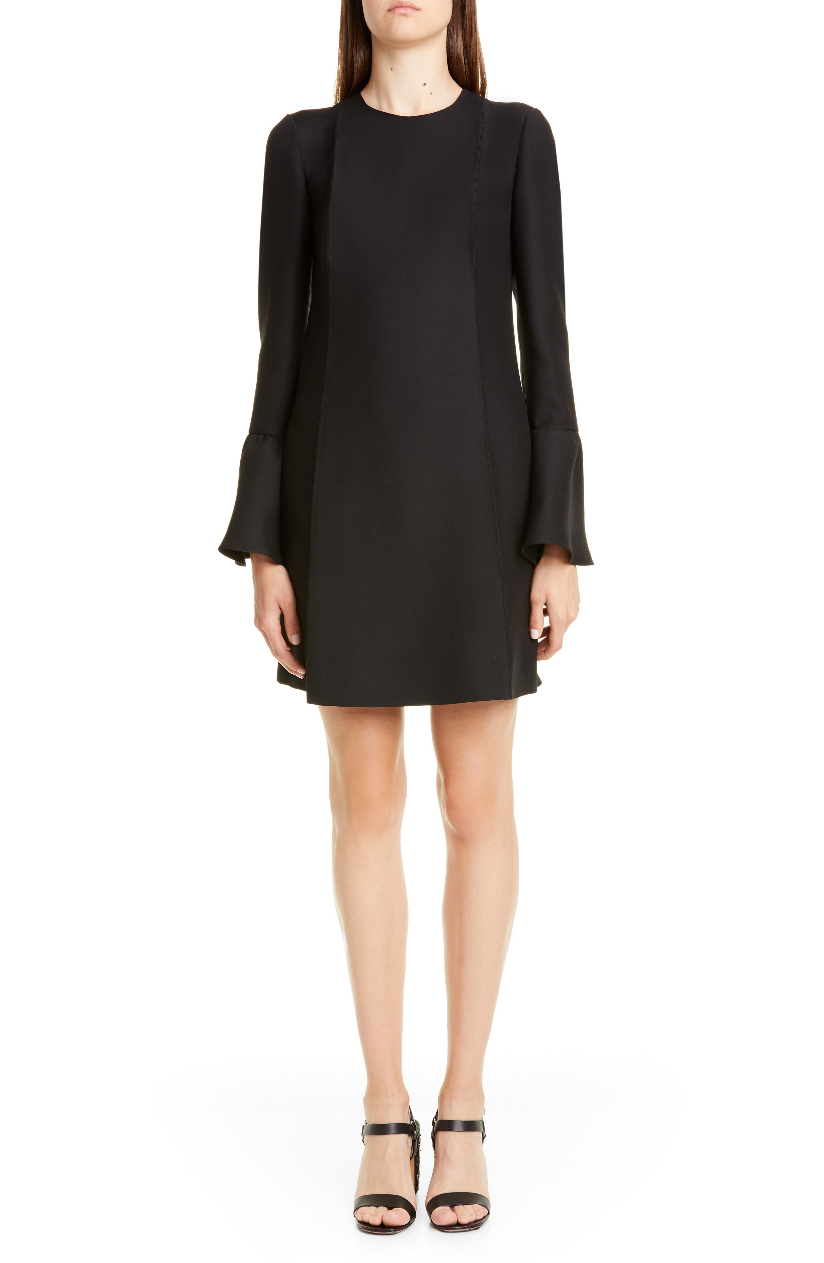Valentino Long Sleeve Crepe Couture Minidress, 50 IT - Black