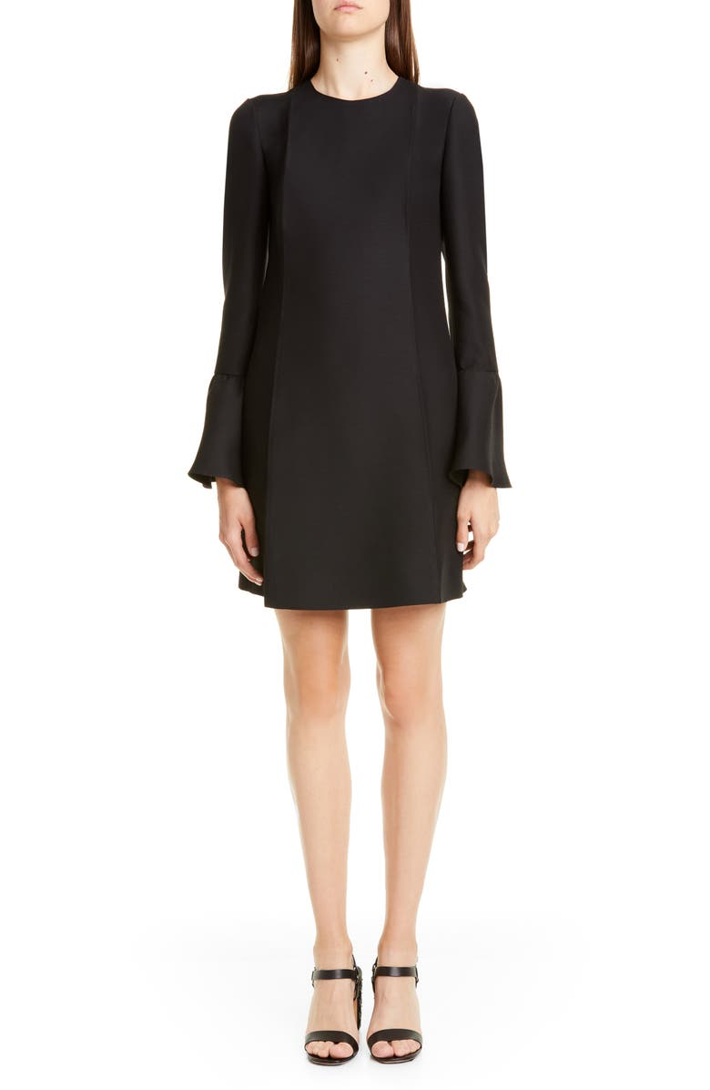 VALENTINO Long Sleeve Crepe Couture Minidress, Main, color, 0NO-BLACK