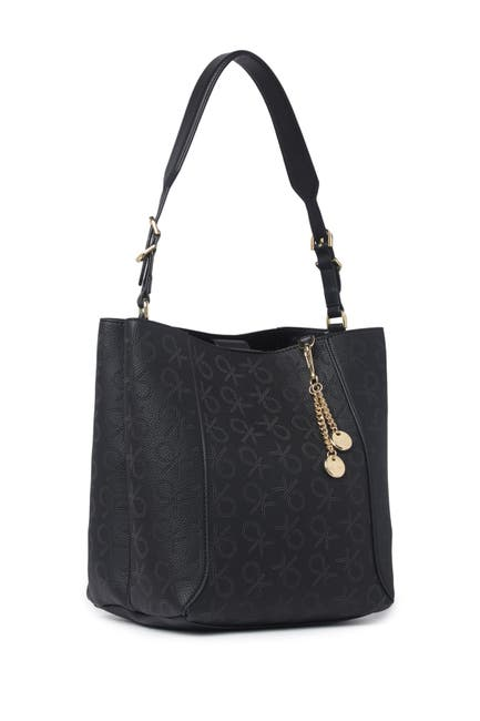 Image of Calvin Klein Denver Perforated Montego Logo Hobo Shoulder Bag