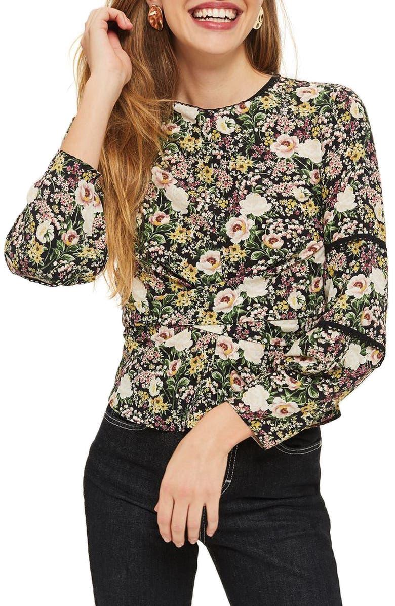 TOPSHOP Floral Twist Wrap Blouse, Main, color, 001