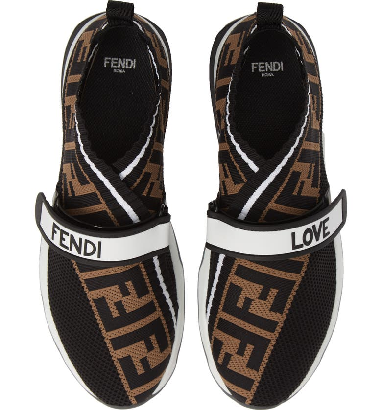 FENDI Rockoko Knit Sneaker, Main, color, BLACK