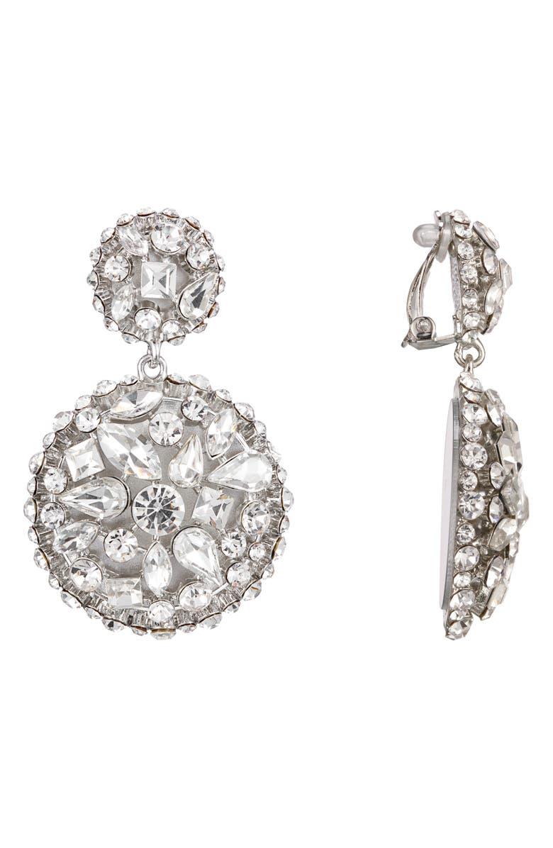 NINA Drop Earrings, Main, color, RHODIUM/ WHITE CRYSTAL