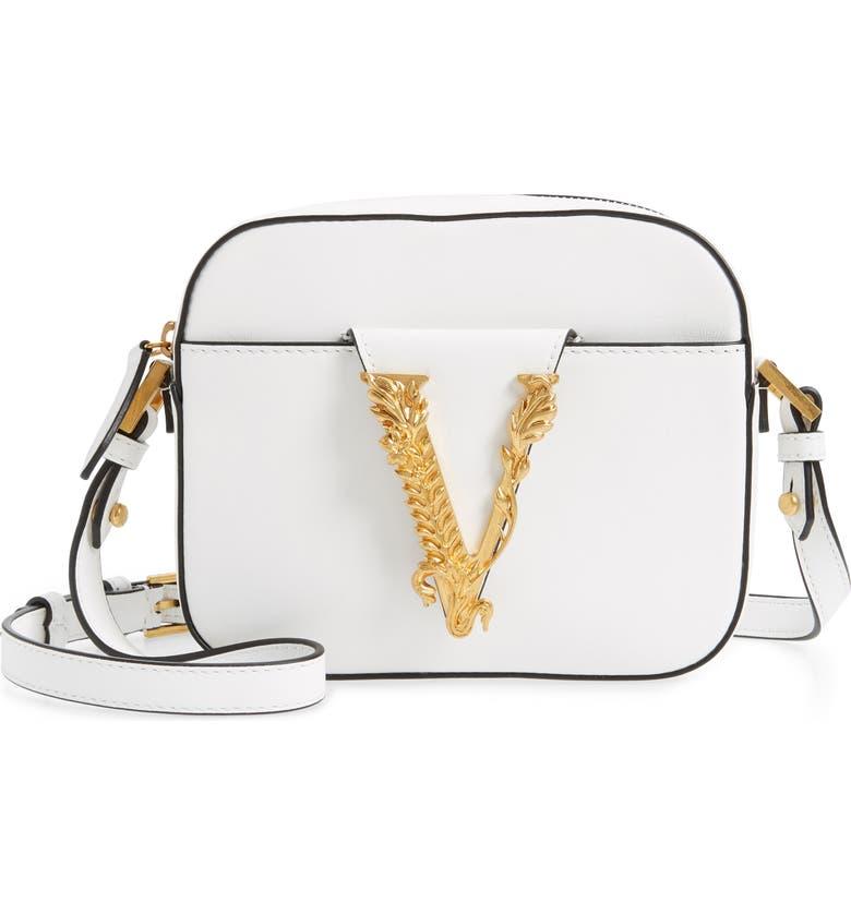 VERSACE Mini Virtus Leather Shoulder Bag, Main, color, OPTICAL WHITE/ TRIBUTE GOLD
