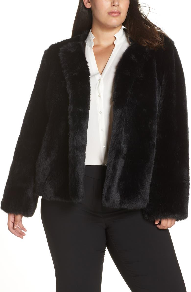 BADGLEY MISCHKA COLLECTION Badgley Mischka Collarless Faux Fur Jacket, Main, color, 001