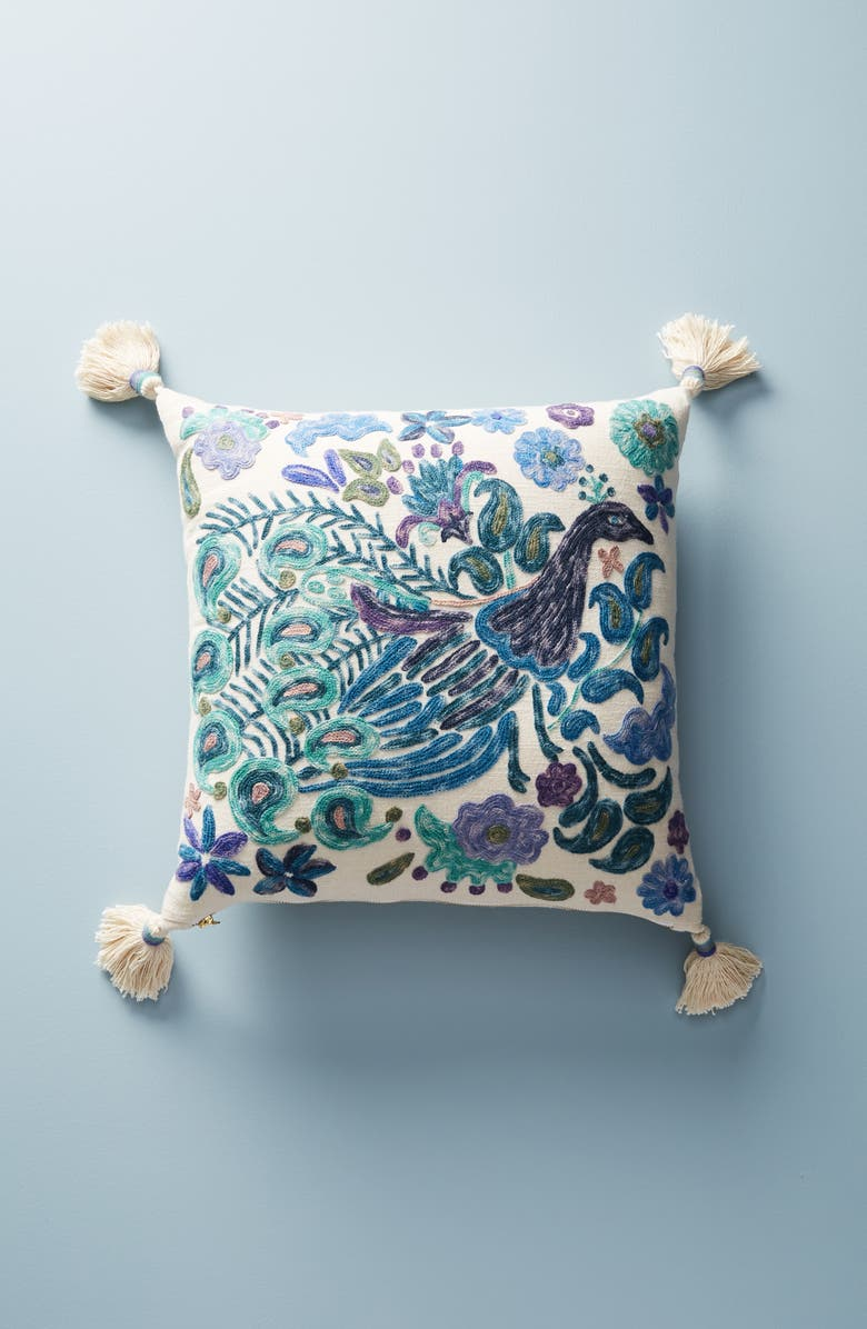ANTHROPOLOGIE Melika Embroidered Peacock Accent Pillow, Main, color, 400