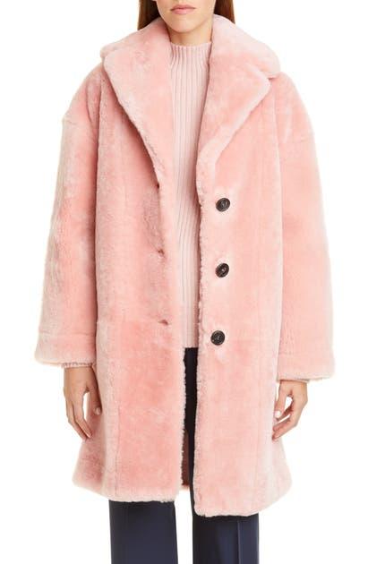 Mansur Gavriel Genuine Shearling Coat In Blush