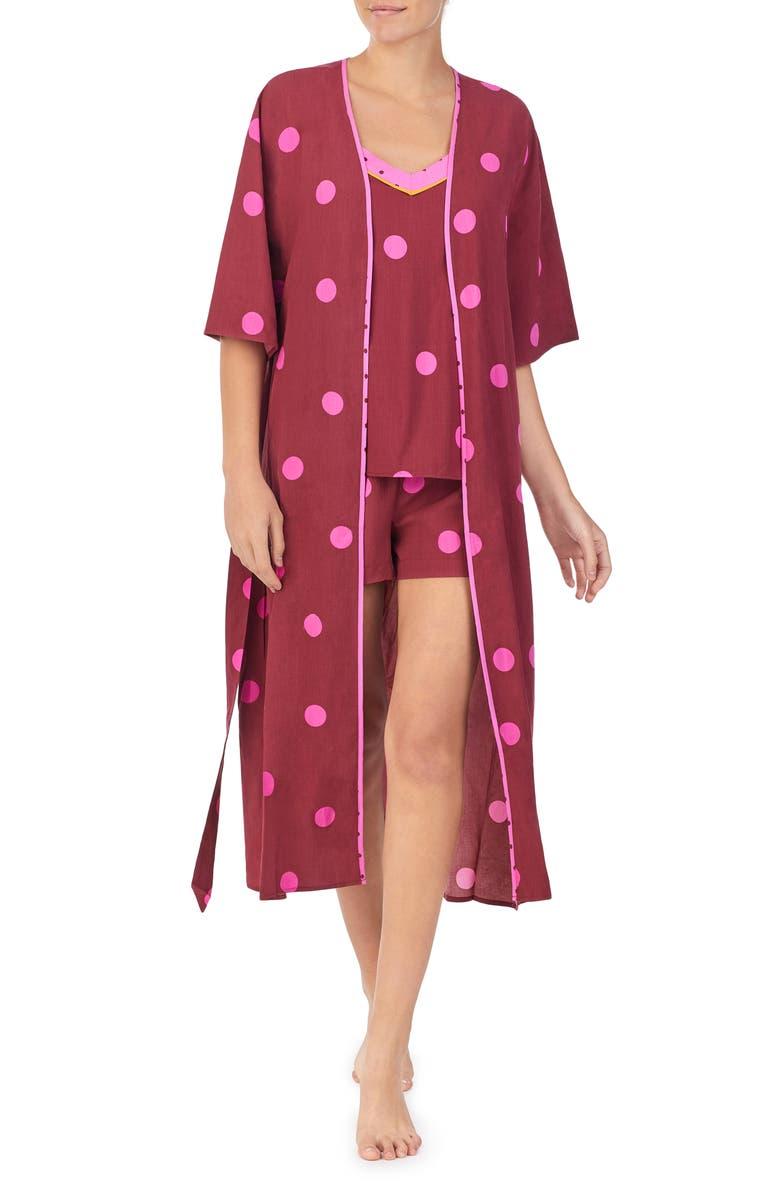 REFINERY29 3-Piece Woven Pajama Set, Main, color, BRICK DOT