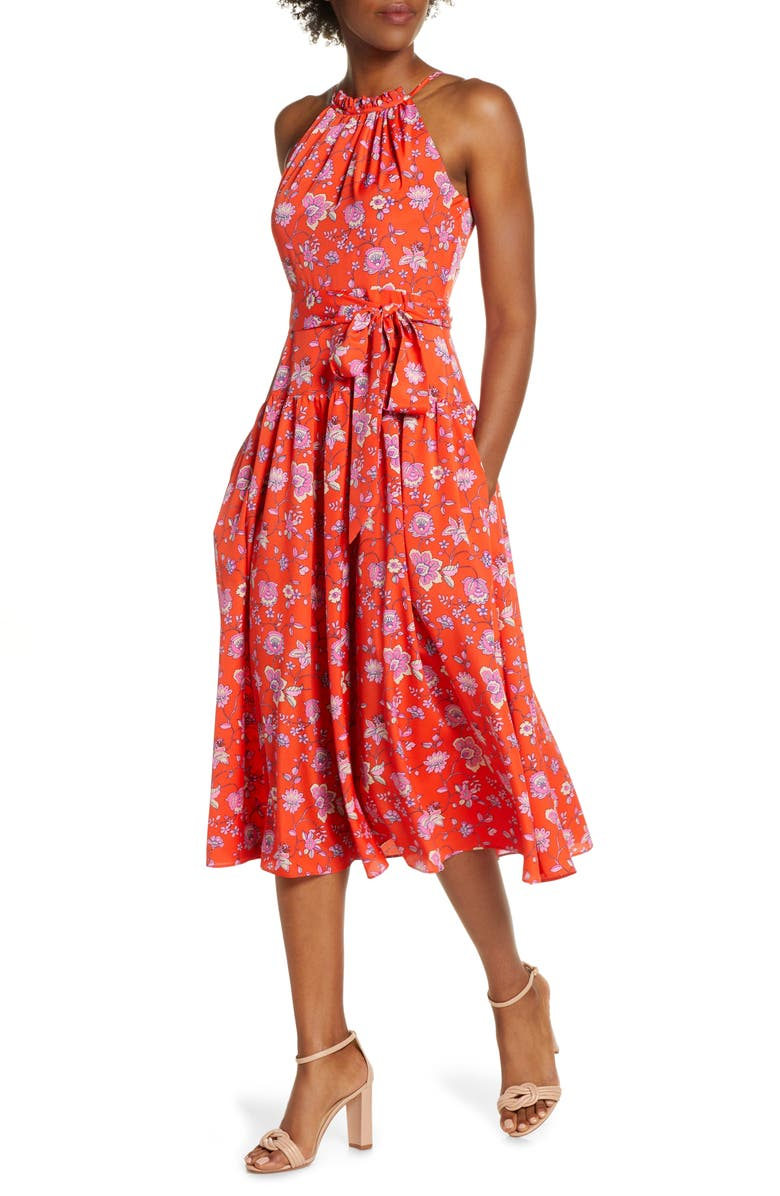 ELIZA J Floral High Neck Midi Dress, Main, color, BRIGHT ORANGE