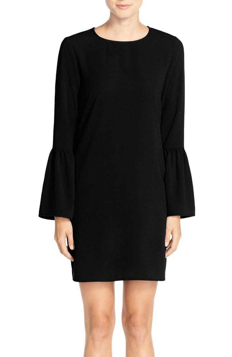 CHARLES HENRY Charley Henry Bell Sleeve Crepe Shift Dress, Main, color, 001