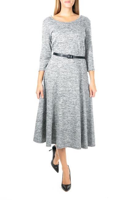 Image of Nina Leonard Heathered Belted Midi Dress