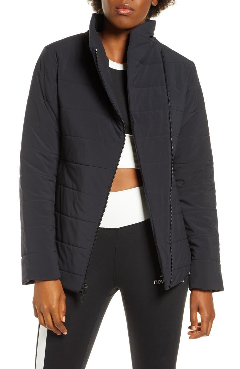 NEW BALANCE Heat Flex Asymmetrical Zip Jacket, Main, color, BLACK